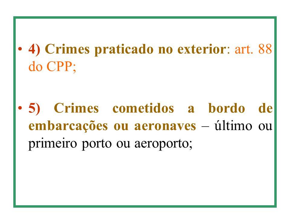 4) Crimes praticado no exterior: art. 88 do CPP;