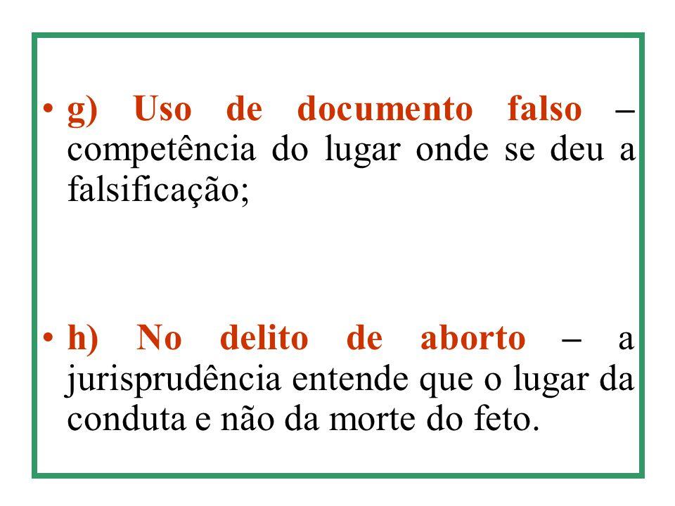 g) Uso de documento falso – competência do lugar onde se deu a falsificação;