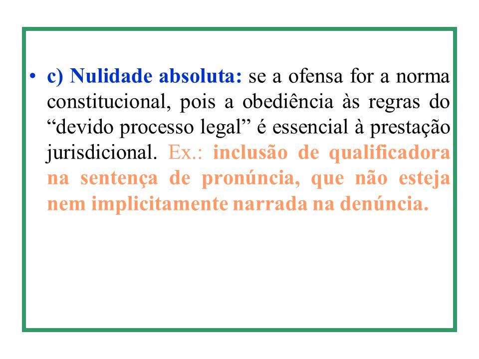 c) Nulidade absoluta: se a ofensa for a norma constitucional, pois a obediência às regras do devido processo legal é essencial à prestação jurisdicional.