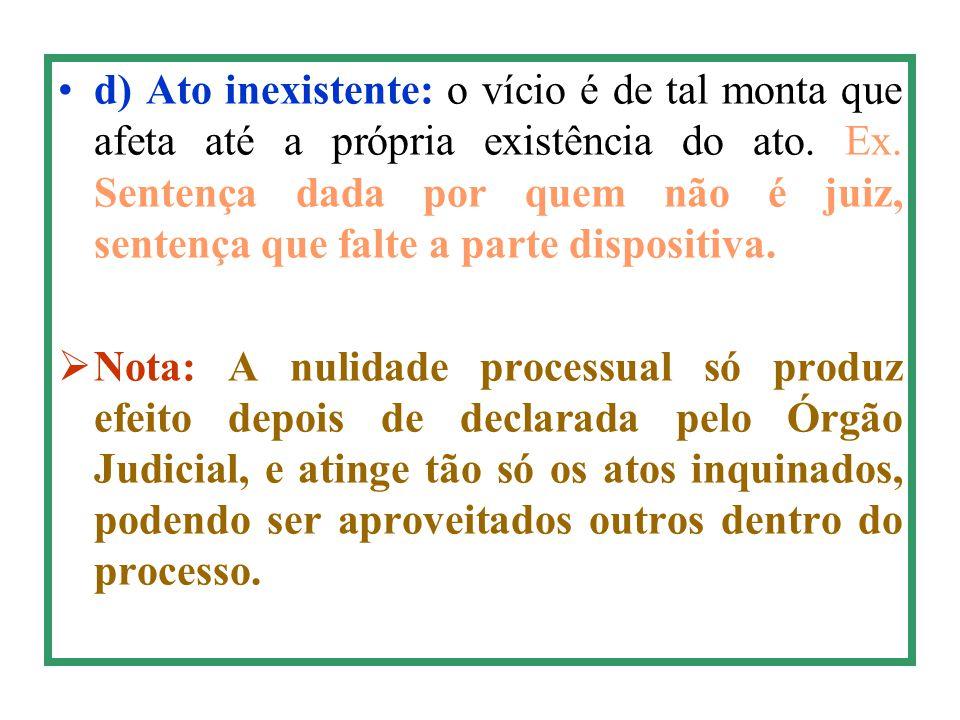d) Ato inexistente: o vício é de tal monta que afeta até a própria existência do ato. Ex. Sentença dada por quem não é juiz, sentença que falte a parte dispositiva.