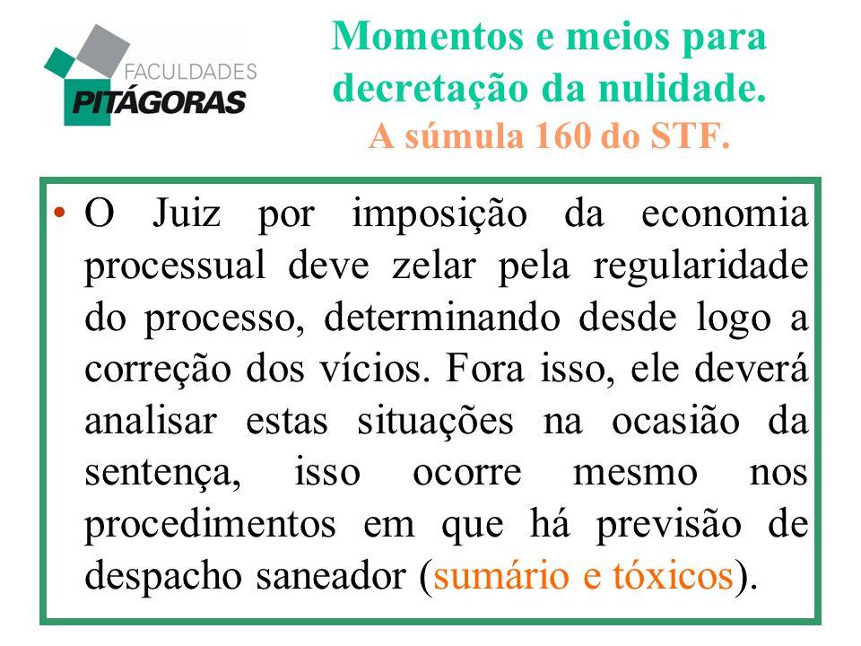 Momentos e meios para decretação da nulidade. A súmula 160 do STF.