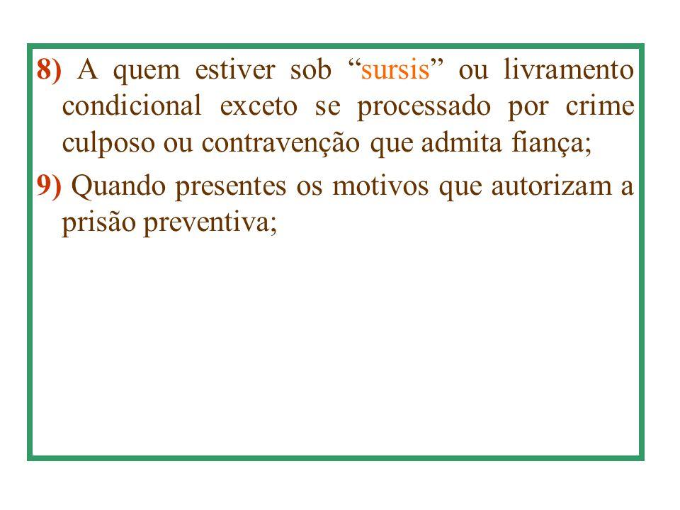 8) A quem estiver sob sursis ou livramento condicional exceto se processado por crime culposo ou contravenção que admita fiança;