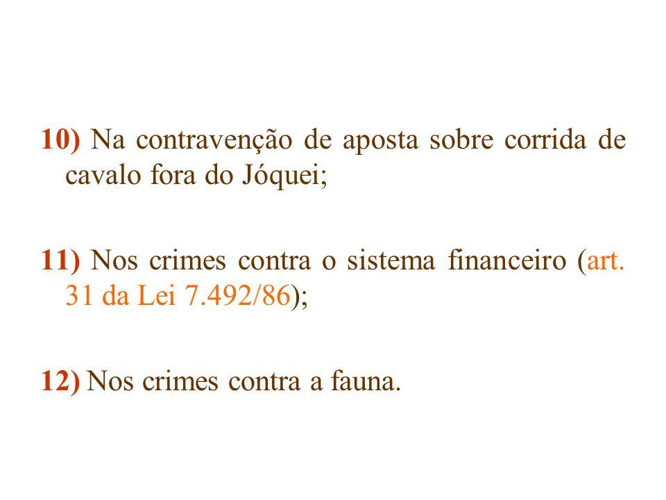 10) Na contravenção de aposta sobre corrida de cavalo fora do Jóquei;