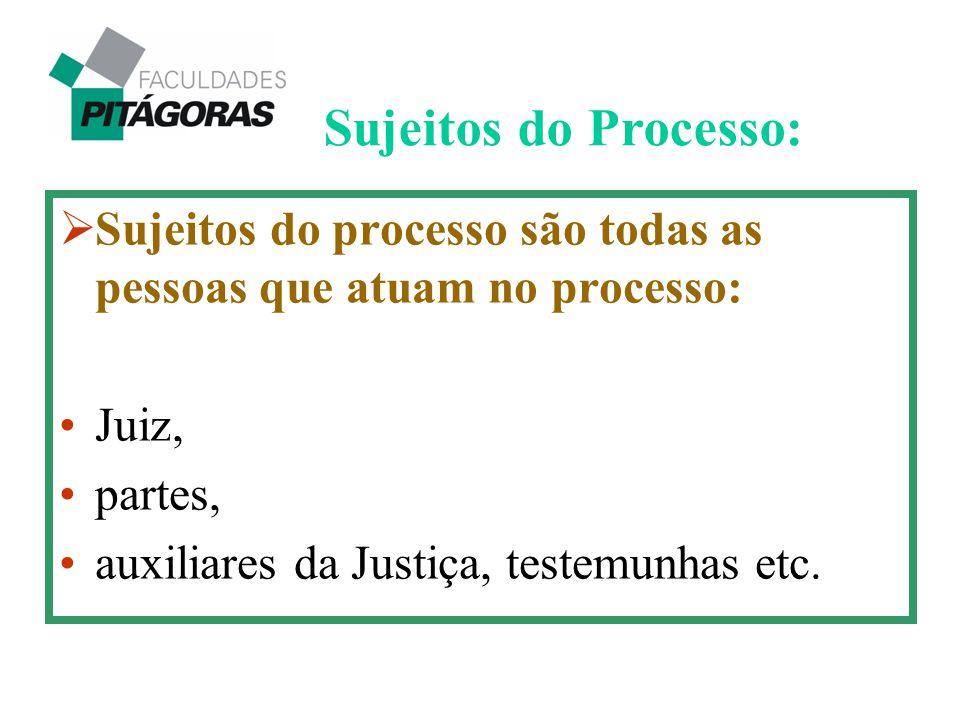 Sujeitos do Processo: Sujeitos do processo são todas as pessoas que atuam no processo: Juiz, partes,