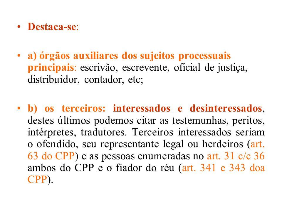 Destaca-se: a) órgãos auxiliares dos sujeitos processuais principais: escrivão, escrevente, oficial de justiça, distribuidor, contador, etc;