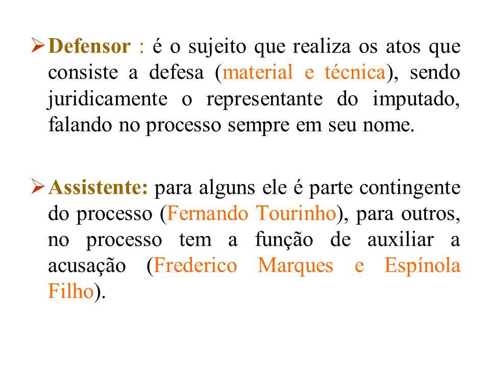 Defensor : é o sujeito que realiza os atos que consiste a defesa (material e técnica), sendo juridicamente o representante do imputado, falando no processo sempre em seu nome.