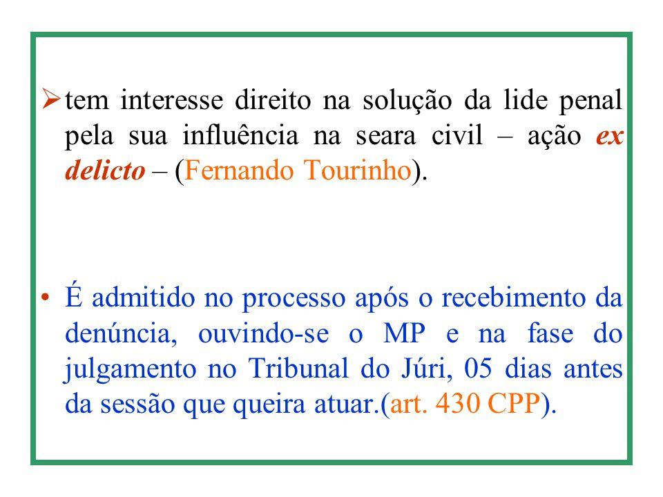 tem interesse direito na solução da lide penal pela sua influência na seara civil – ação ex delicto – (Fernando Tourinho).