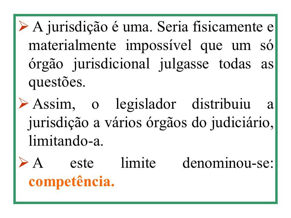 A jurisdição é uma. Seria fisicamente e materialmente impossível que um só órgão jurisdicional julgasse todas as questões.