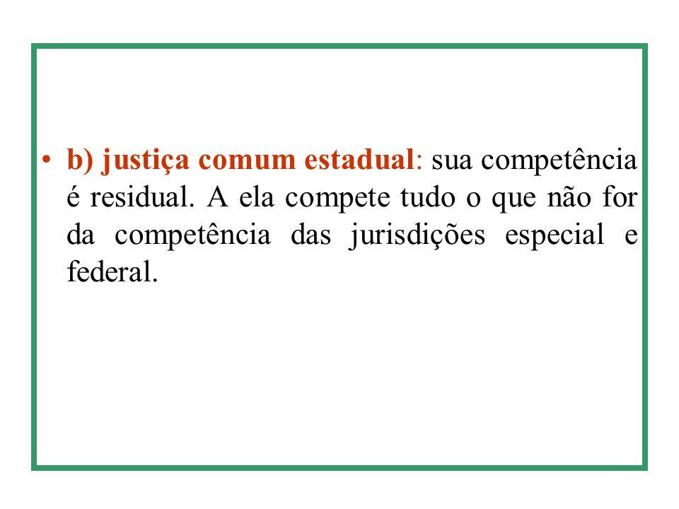 b) justiça comum estadual: sua competência é residual