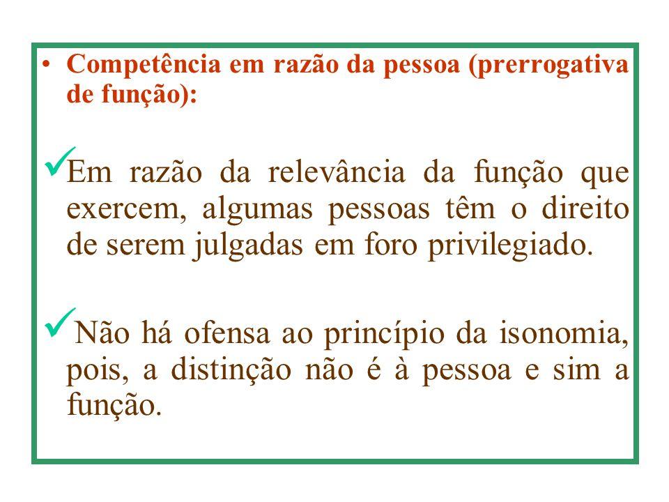 Competência em razão da pessoa (prerrogativa de função):
