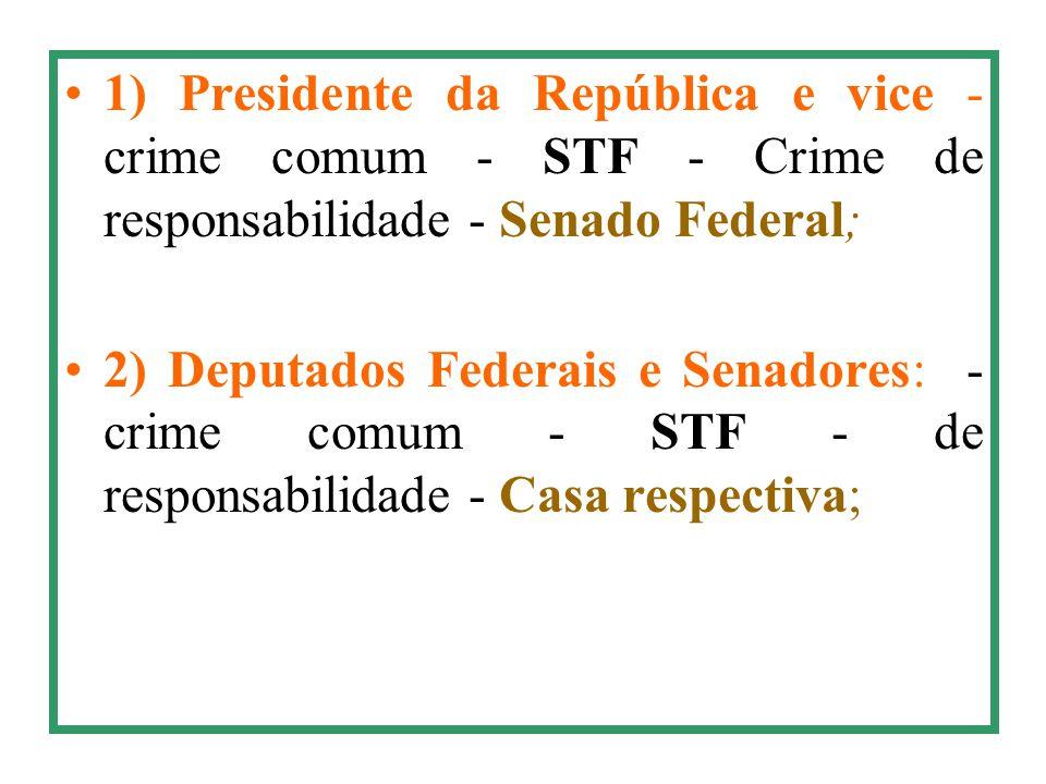 1) Presidente da República e vice - crime comum - STF - Crime de responsabilidade - Senado Federal;