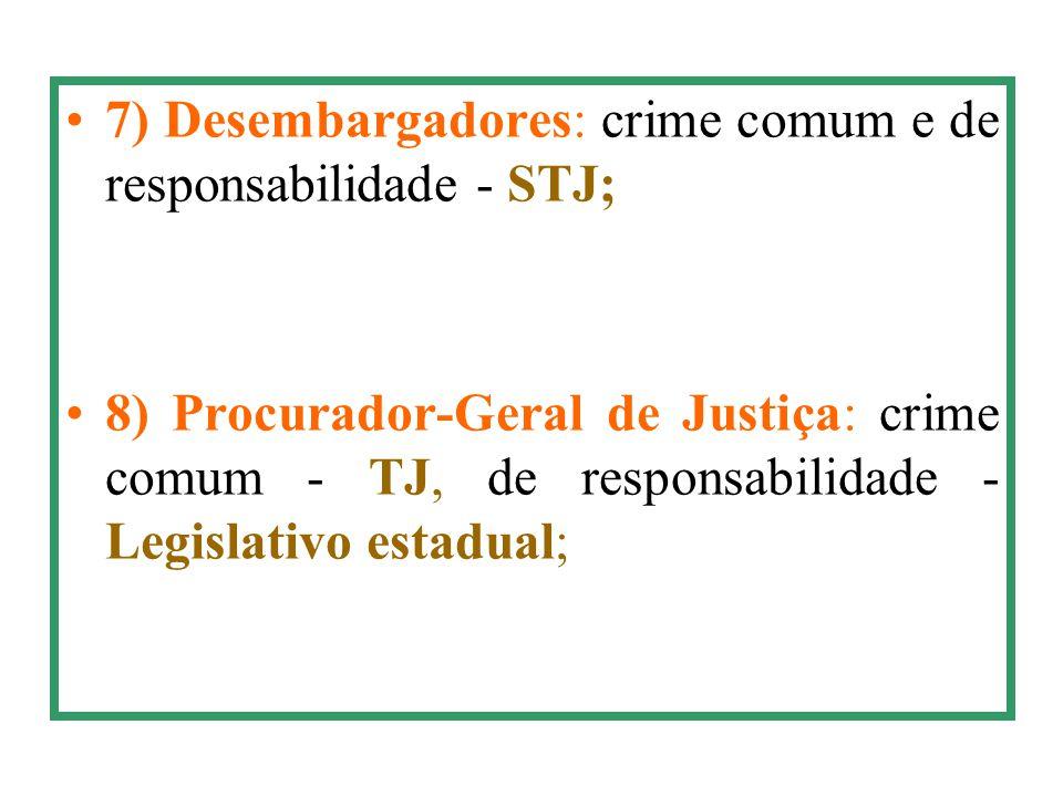 7) Desembargadores: crime comum e de responsabilidade - STJ;