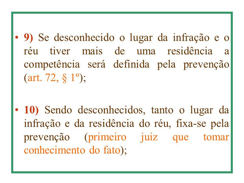 9) Se desconhecido o lugar da infração e o réu tiver mais de uma residência a competência será definida pela prevenção (art. 72, § 1º);