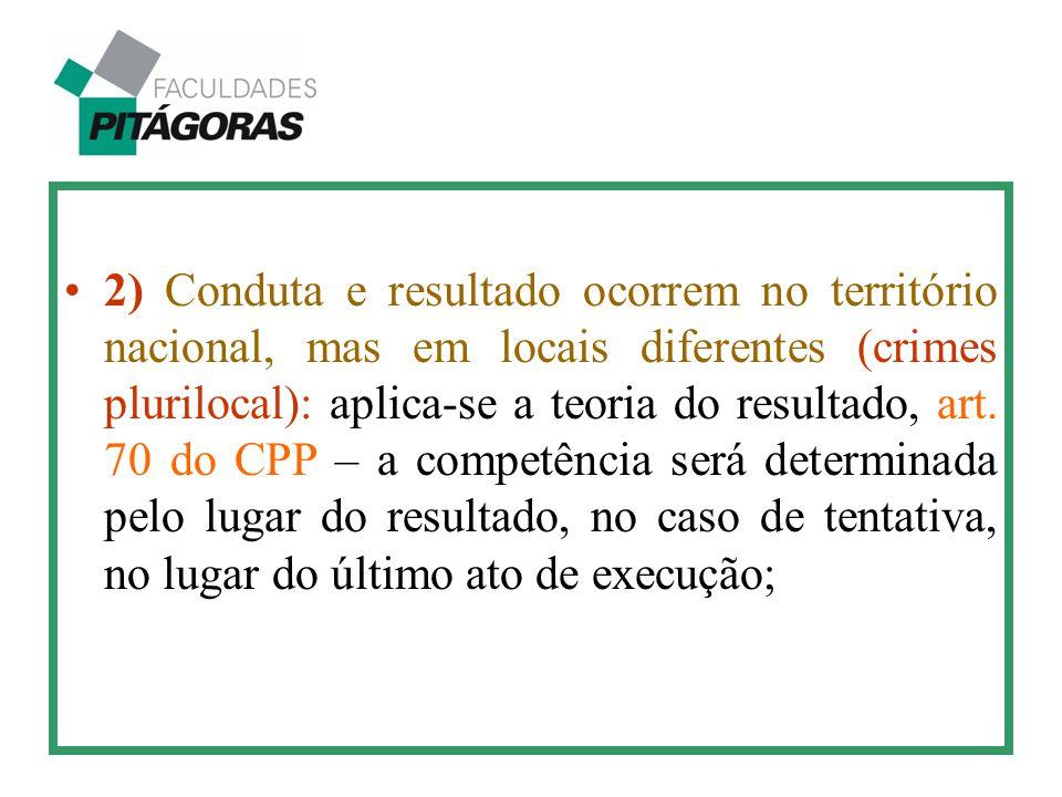 2) Conduta e resultado ocorrem no território nacional, mas em locais diferentes (crimes plurilocal): aplica-se a teoria do resultado, art.
