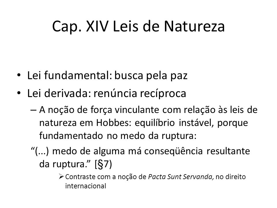 Cap. XIV Leis de Natureza