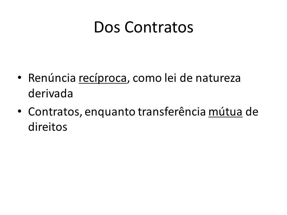 Dos Contratos Renúncia recíproca, como lei de natureza derivada