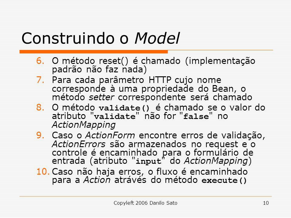 Construindo o Model O método reset() é chamado (implementação padrão não faz nada)