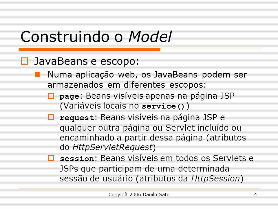 Construindo o Model JavaBeans e escopo: