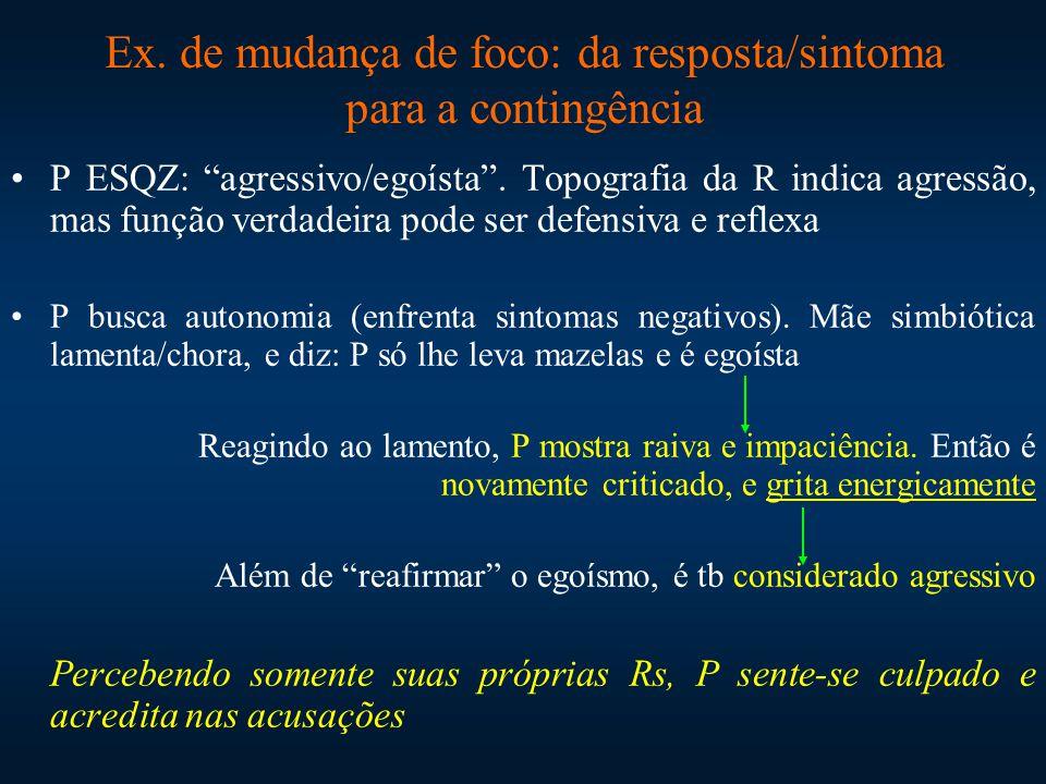 Ex. de mudança de foco: da resposta/sintoma para a contingência