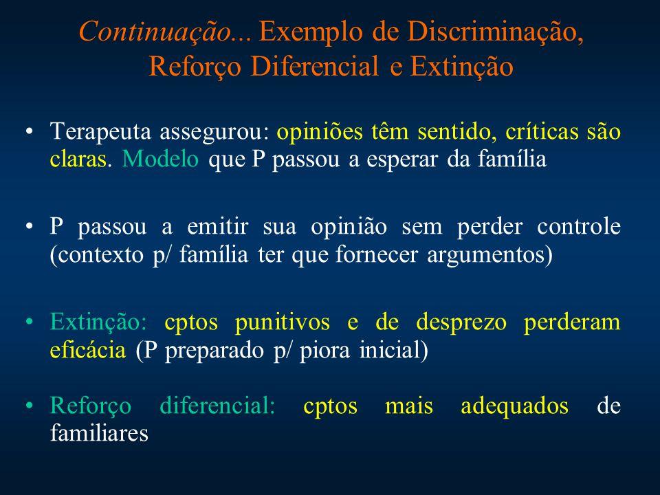 Continuação... Exemplo de Discriminação, Reforço Diferencial e Extinção