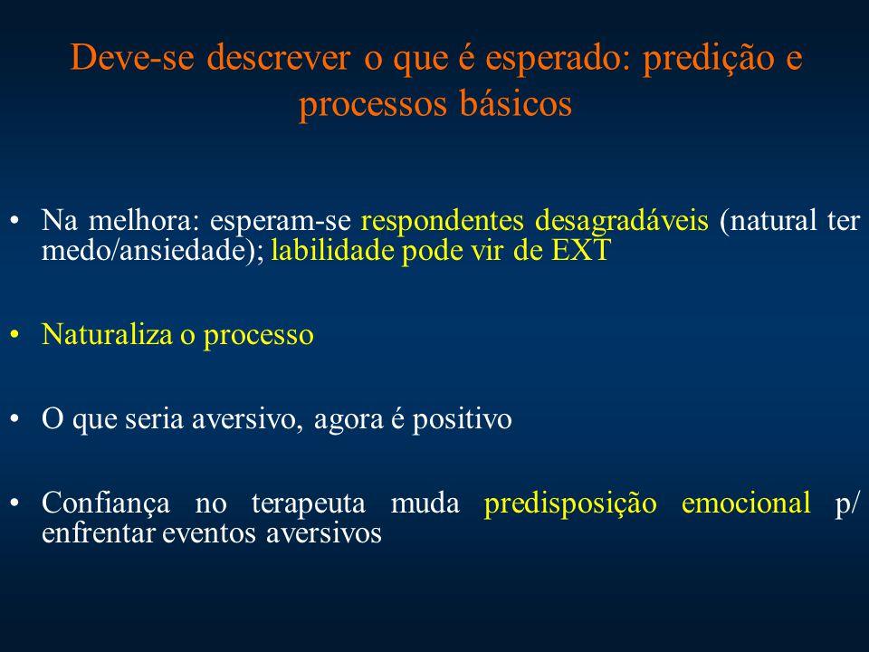 Deve-se descrever o que é esperado: predição e processos básicos