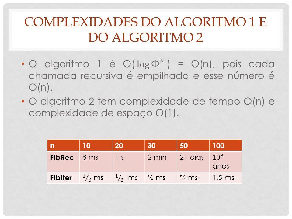 Complexidades do algoritmo 1 e do algoritmo 2