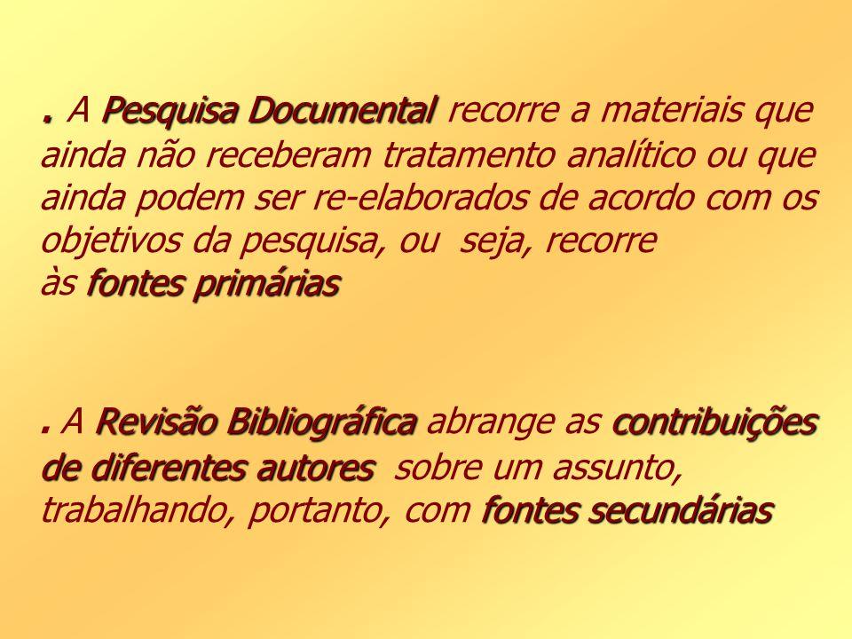 A Pesquisa Documental recorre a materiais que ainda não receberam tratamento analítico ou que ainda podem ser re-elaborados de acordo com os objetivos da pesquisa, ou seja, recorre às fontes primárias .