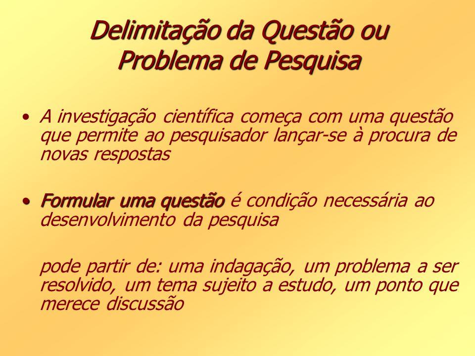Delimitação da Questão ou Problema de Pesquisa