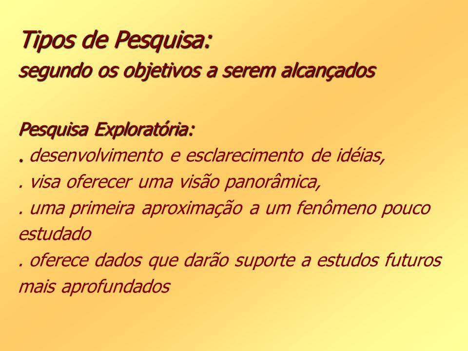 Tipos de Pesquisa: segundo os objetivos a serem alcançados Pesquisa Exploratória: .