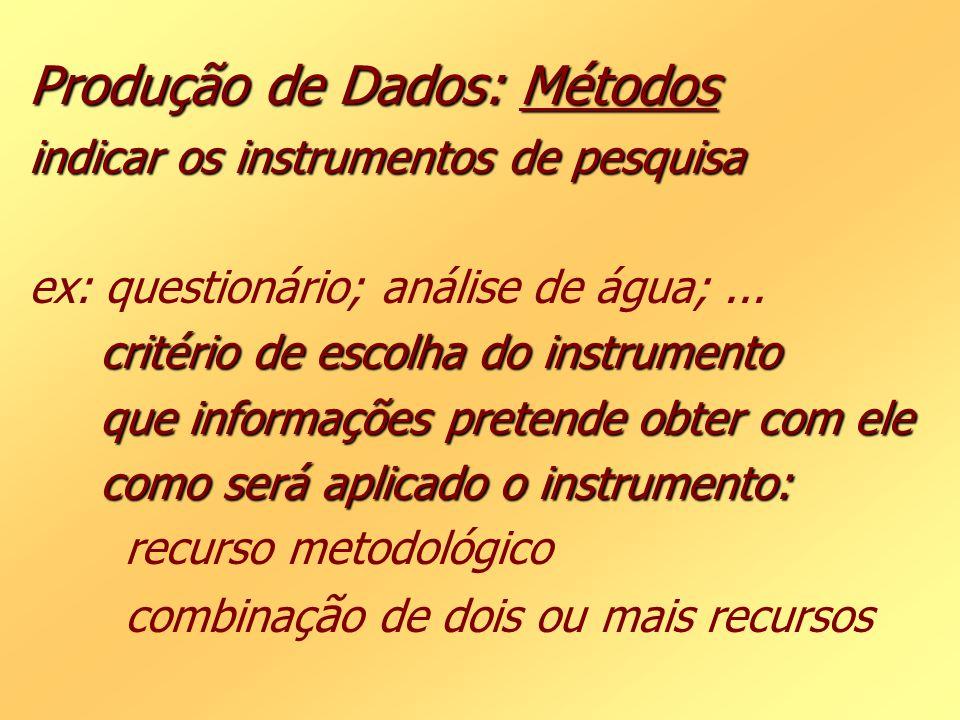 Produção de Dados: Métodos indicar os instrumentos de pesquisa ex: questionário; análise de água; ...