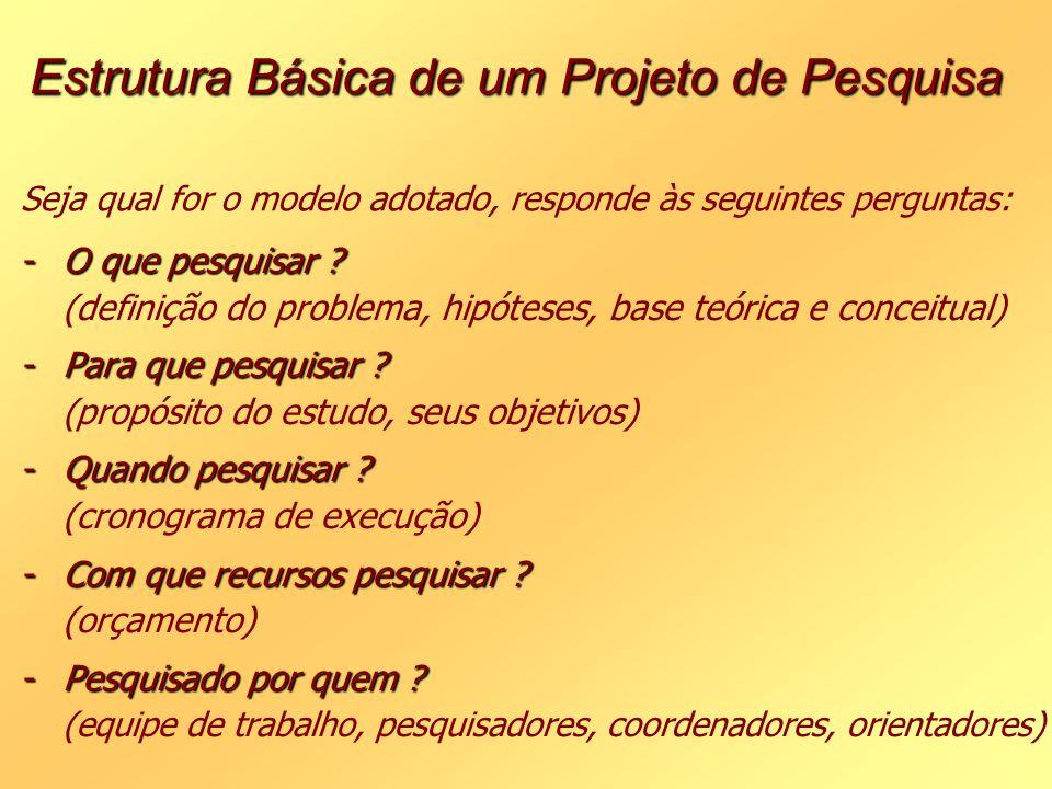 Estrutura Básica de um Projeto de Pesquisa Seja qual for o modelo adotado, responde às seguintes perguntas: