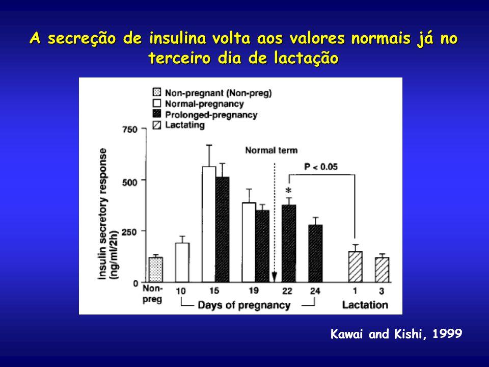 A secreção de insulina volta aos valores normais já no terceiro dia de lactação