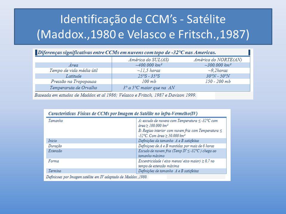 Identificação de CCM's - Satélite (Maddox. ,1980 e Velasco e Fritsch