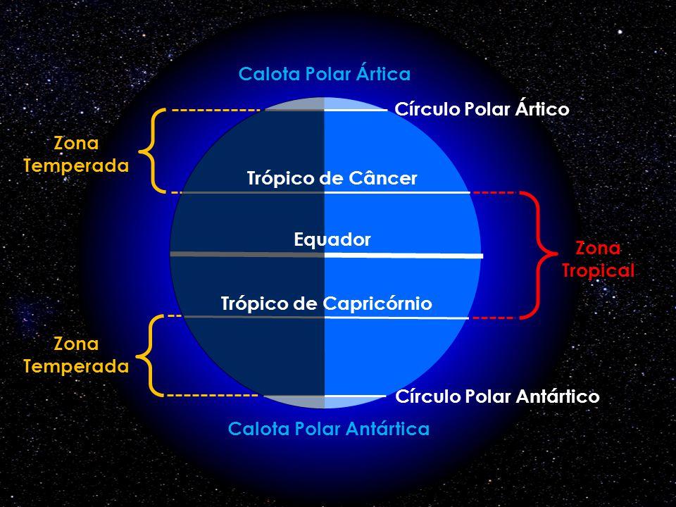 Trópico de Capricórnio Círculo Polar Antártico Calota Polar Antártica