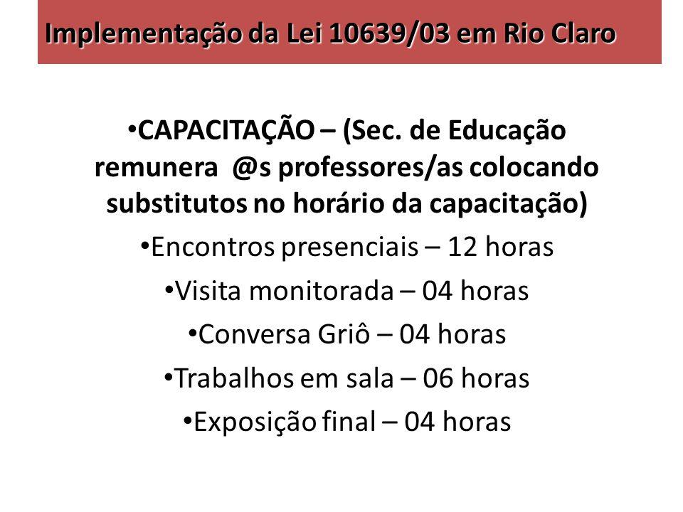 Implementação da Lei 10639/03 em Rio Claro