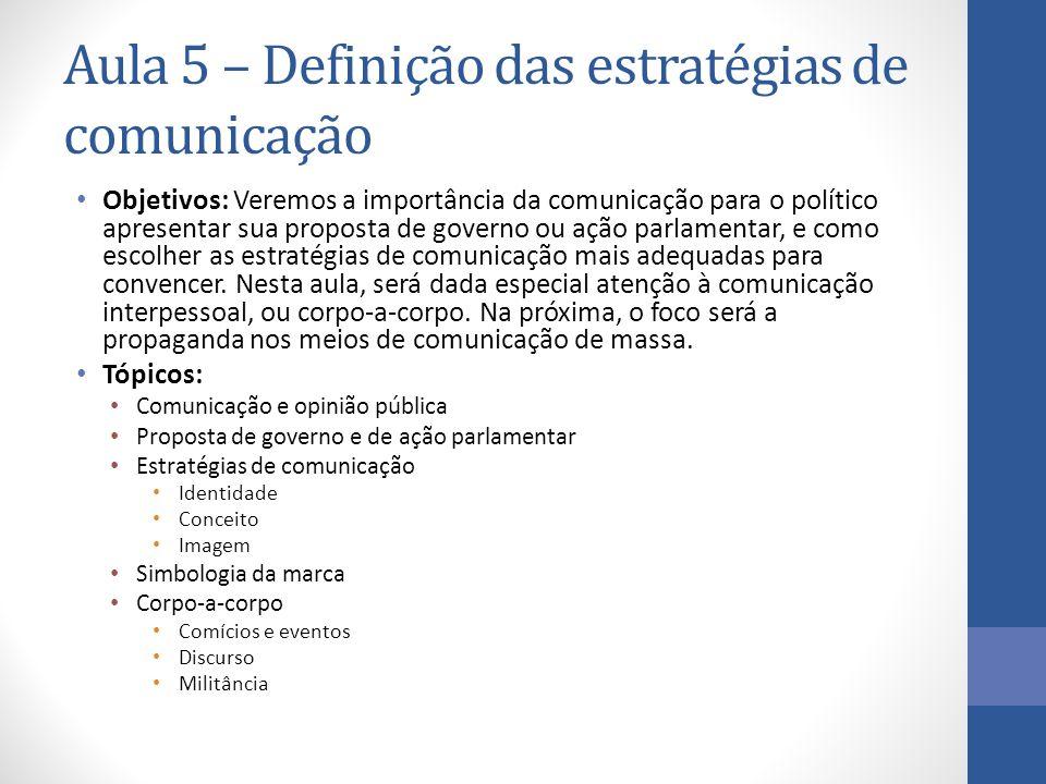 Aula 5 – Definição das estratégias de comunicação