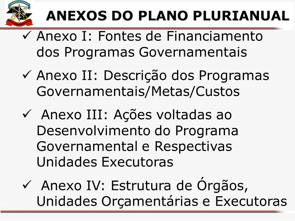 ANEXOS DO PLANO PLURIANUAL