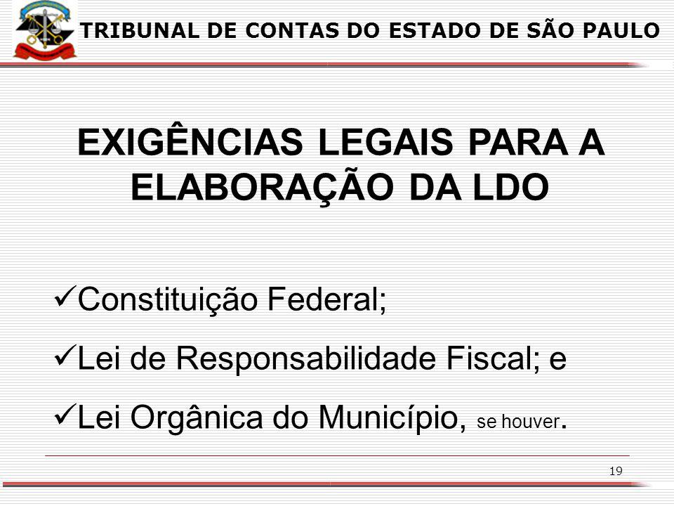 EXIGÊNCIAS LEGAIS PARA A ELABORAÇÃO DA LDO