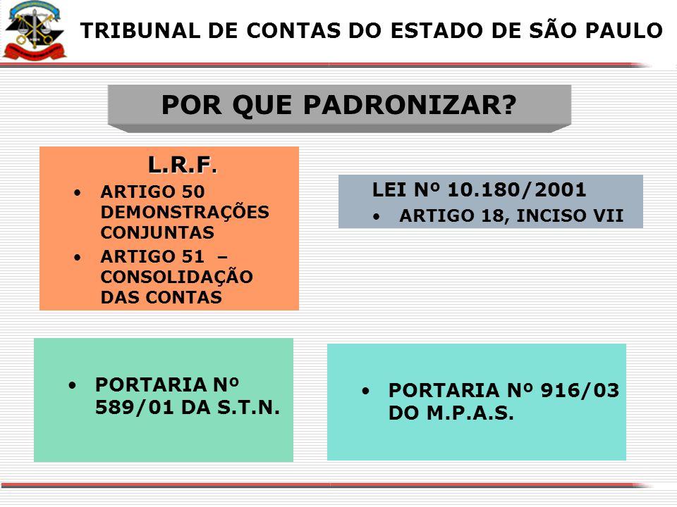 POR QUE PADRONIZAR L.R.F. TRIBUNAL DE CONTAS DO ESTADO DE SÃO PAULO