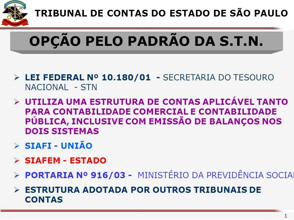 OPÇÃO PELO PADRÃO DA S.T.N.
