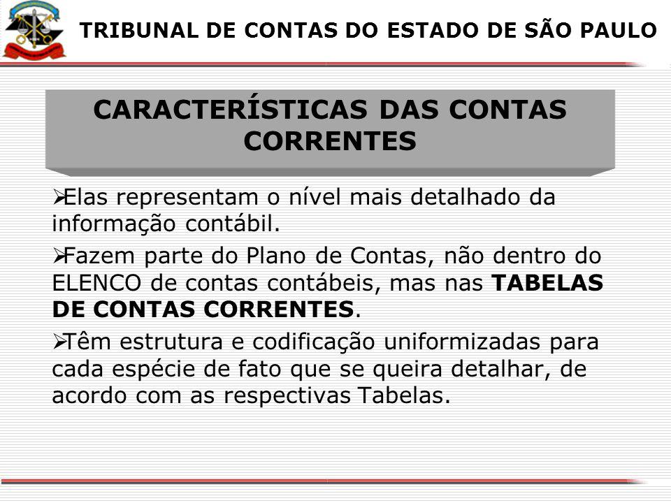 CARACTERÍSTICAS DAS CONTAS CORRENTES