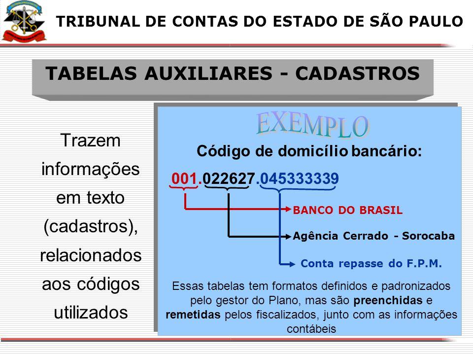 TABELAS AUXILIARES - CADASTROS
