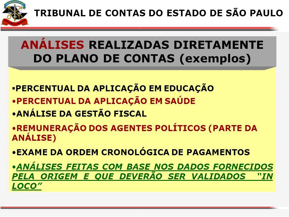 ANÁLISES REALIZADAS DIRETAMENTE DO PLANO DE CONTAS (exemplos)