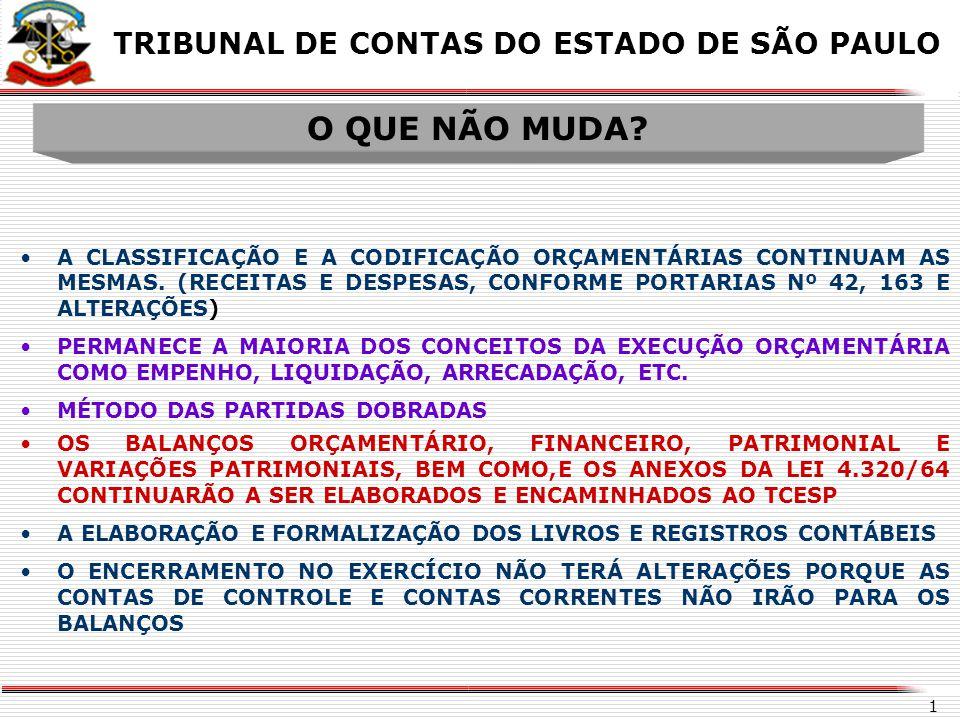 O QUE NÃO MUDA TRIBUNAL DE CONTAS DO ESTADO DE SÃO PAULO X X
