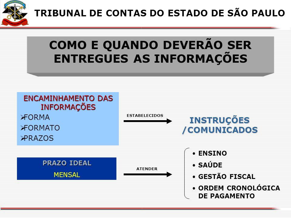 COMO E QUANDO DEVERÃO SER ENTREGUES AS INFORMAÇÕES