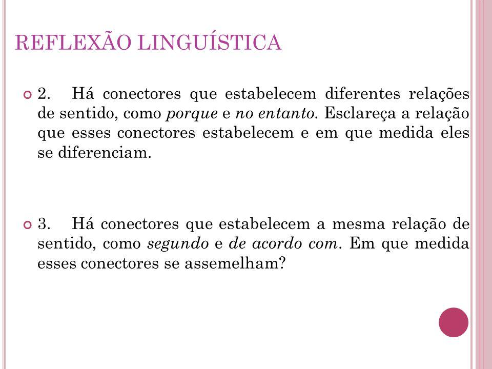 REFLEXÃO LINGUÍSTICA