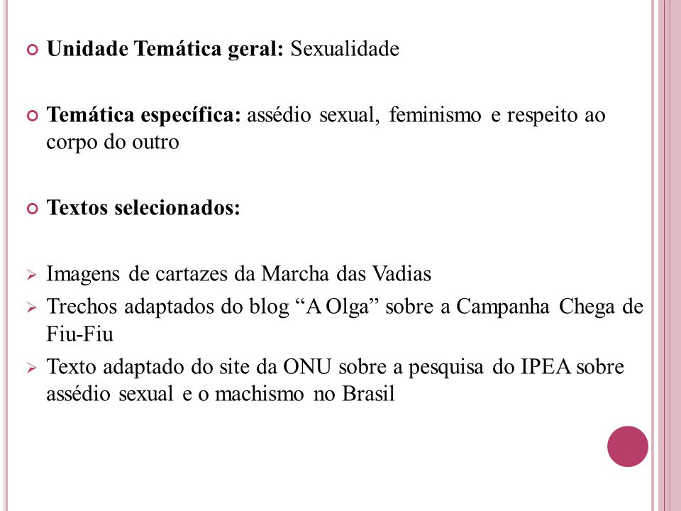 Unidade Temática geral: Sexualidade