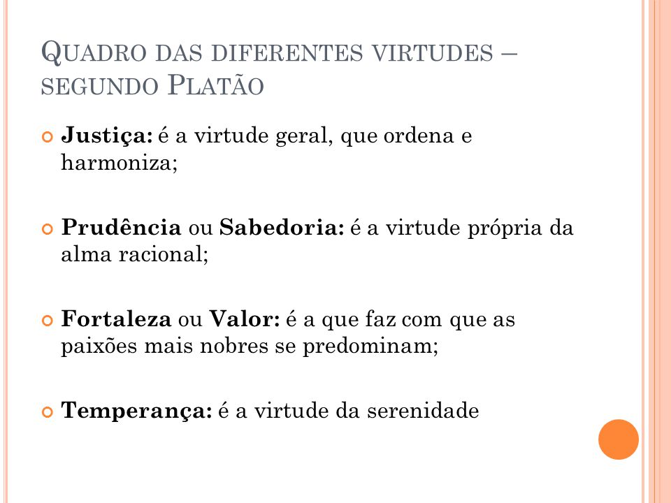 Quadro das diferentes virtudes – segundo Platão