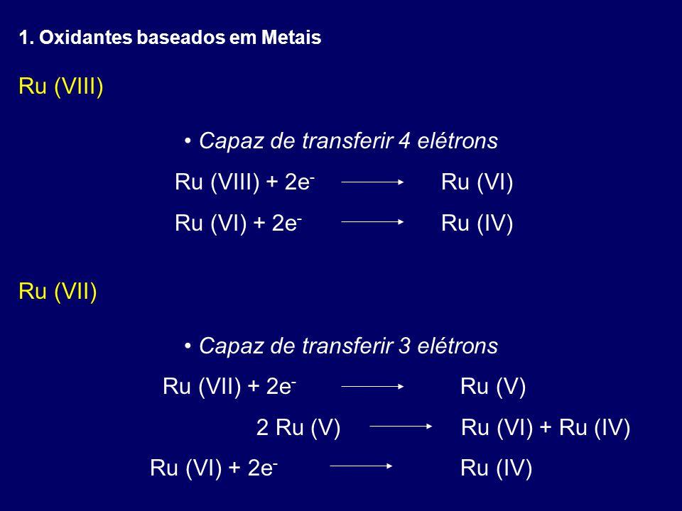 Capaz de transferir 4 elétrons Ru (VIII) + 2e- Ru (VI)