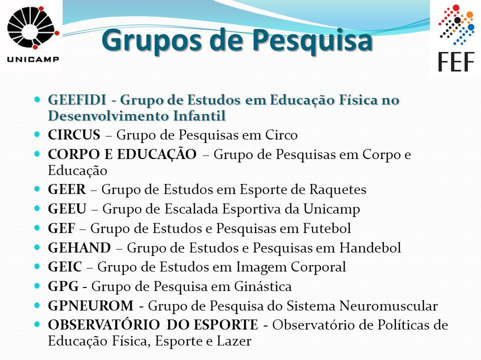 Grupos de Pesquisa GEEFIDI - Grupo de Estudos em Educação Física no Desenvolvimento Infantil. CIRCUS – Grupo de Pesquisas em Circo.